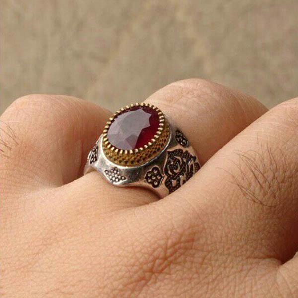 انگشتر مردانه یاقوت قرمز اصل و معدنی