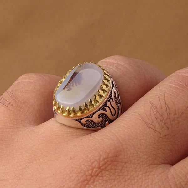 انگشتر مردانه عقیق شجر طبیعی