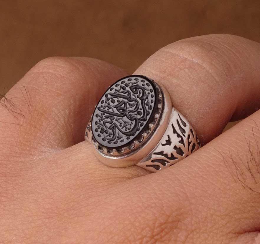 انگشتر مردانه عقیق مشکی خطی