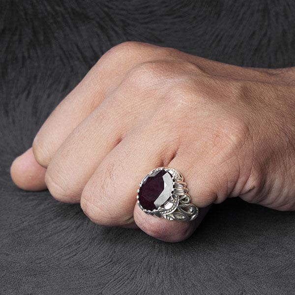 انگشتر مردانه یاقوت سرخ اصل و معدنی دستساز