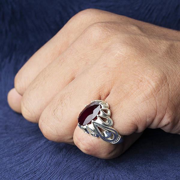 انگشتر مردانه یاقوت سرخ آفریقایی دستساز