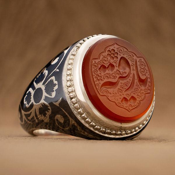 انگشتر نقره مردانه عقیق یمنی خطی دست ساز