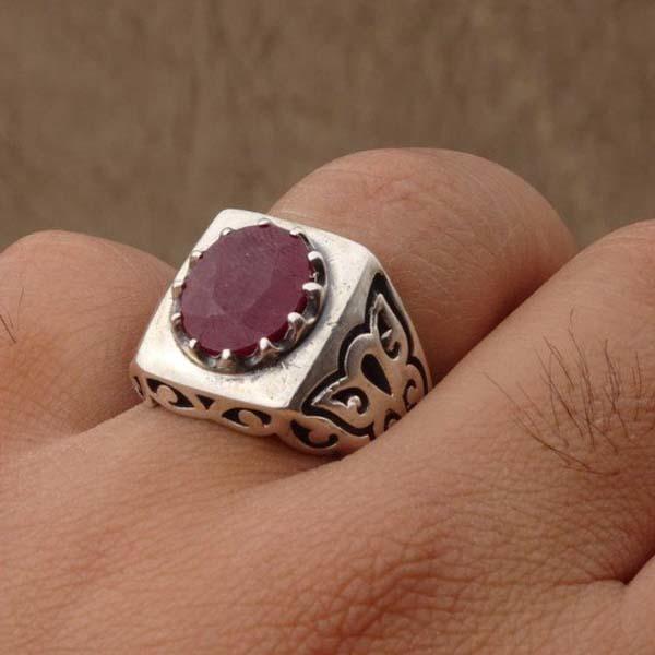 انگشتر مردانه یاقوت سرخ افریقایی معدنی