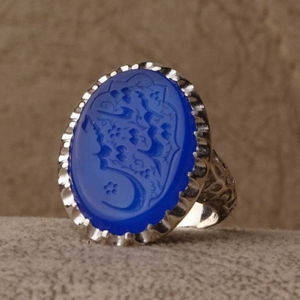 انگشتر مردانه عقیق آبی خطی