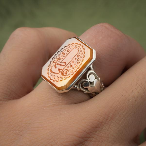 انگشتر نقره مردانه عقیق پرتقالی یمانی خطی دست ساز
