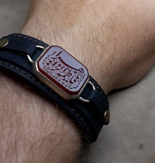 ست انگشتر و دستبند عقیق سرخ خطی